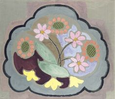 Vanessa Bell - Design for chair seat, flowers,...