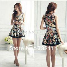 2014 luxo moda para mulheres elegantes retro estampa floral mini vestido sem mangas senhoras vintage roupas festa de verão vestidos US $11.99