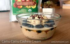 This decadent cashew cream with lime and camu camu will have you coming back for seconds and thirds time and time again. Muesli, Granola, Superfood Recipes, Healthy Recipes, Overnight Oatmeal, Powder Recipe, Cashew Cream, Cacao Nibs, Healthy Treats
