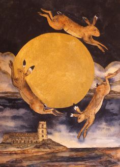 'That Night Of The Gold Moon' By Printmaker Mandy Walden. Hare Pictures, 1920s Art, Rabbit Art, Bunny Art, Moon Art, Celestial, Stars And Moon, Beautiful Creatures, Printmaking