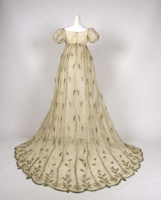 French. Cotton evening dress with metallic thread.  1805-1810  Met Museum of Art