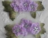 2 pc Lavender Ribbon Lace Flower applique w leaf acrylic rhinestone bead for scrapbook altered art