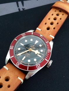 Tudor Black Bay on Mojave Tan Racing strap by Heuerville