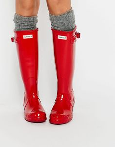 Image 1 ofHunter Original Tall Gloss Military Red Adjustable Wellington Boots