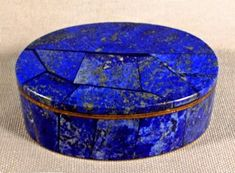 A stunning lapis lazuli oval shape, covered pillbox, the semi-precious stone artfully cut and applied to a two piece brass container, the top notched to perfectly align with the case, when closed. Lapis Lazuli Jewelry, Antique Bottles, Pretty Box, Pill Boxes, Casket, Stone Carving, Oval Shape, Malachite, Trinket Boxes