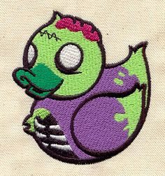"""Embroidery Designs at Urban Threads - Zombie Duckie (#UT2487) 2.79""""w x 3.10""""h 13 August 2010"""
