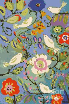 Beautiful unique bird art print by Karen Fields Art And Illustration, Illustrations, Motifs Textiles, Creation Art, Alphonse Mucha, Bird Art, Oeuvre D'art, Painting Inspiration, Flower Art