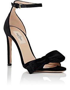Valentino Bow-Embellished Velvet Ankle-Strap Sandals