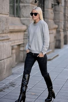 Celine keeping it casual with some killer boots. Stockholm. #hippiehippiemilkshake