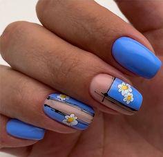 Daisy Nails, Flower Nails, Blue Nails, Best Nail Art Designs, Acrylic Nail Designs, Nail Art Strass, Gelish Nails, Nail Jewelry, Nail Art Rhinestones