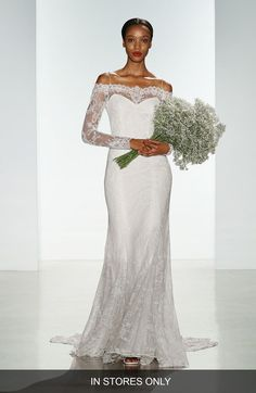 Christos Bridal 'Tilly' Long Sleeve Off the Shoulder Corded Lace Gown (In Stores Only) available at #Nordstrom