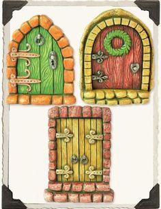 Miniature-Dollhouse-FAIRY-GARDEN-English-Tudor-Fairy-Doors-Set-of-3-NEW