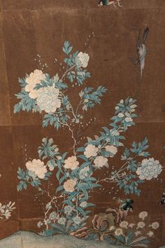 View this item and discover similar for sale at - Early century hand-painted Chinese wallpaper panels of colorful birds and foliage. Mounted in giltwood frame. Hand Painted Wallpaper, Painting Wallpaper, Silk Painting, Painted Paneling Walls, Hand Painted Walls, Chinese Painting, Chinese Art, Chinese Ornament, Asian Flowers