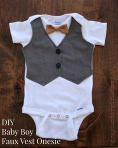 DIY Baby Boy Faux Vest Onesie - step by step Photo tutorial - Bildanleitung