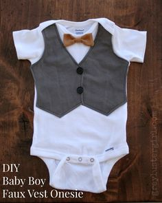 DIY Baby Boy Faux Vest Onesie - step by step Photo tutorial - Bildanleitung