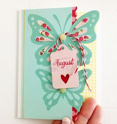 Happy August Birthday Card by Danielle Flanders for Papertrey Ink (July Scrapbook Cards, Scrapbooking, August Birthday, Cardmaking And Papercraft, Butterfly Cards, Invitation, Handmade Birthday Cards, Pretty Cards, Card Tags