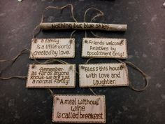 https://flic.kr/p/dewKeU | Pyrography quotes on shabby chic wooden blanks.