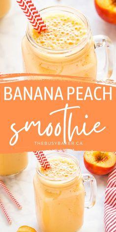 This Banana Peach Smoothie is creamy and delicious, packed with bananas and peaches - nutritious, dairy-free, and easy to make for a post-workout snack or breakfast!Recipe from thebusybaker.ca! #bananapeachsmoothie #smoothie #drink #postworkout #health #healthy #plantbased #dairyfree via @busybakerblog Summer Recipes, Fall Recipes, Sweet Recipes, Real Food Recipes, Snack Recipes, Top Recipes, Holiday Recipes, Healthy Recipes, Easy Smoothies