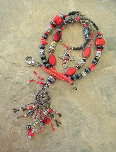 boho tribal jewelry | Boho Necklace, Tribal Necklace, Long Beaded Necklace, Red and Black ...