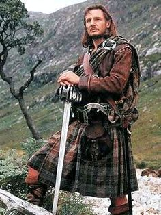 Actor Liam Neeson as Scottish hero and legend in his lifetime, Rob Roy McGregor (1671-1734) wearing his tartan well. His clan motto was 'Royal is my race'