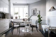 Grey and white Scandinavian kitchen