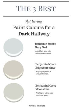 Cool The 3 best not boring paint colours for a dark hallway or stairwell by Kylie M Interiors. E-decor and Color Consulting The post The 3 best not boring paint colours for a dark hallway or stairwell by Kylie M I… appeared first on Ameria . Hallway Paint Colors, Best Paint Colors, Interior Paint Colors, Paint Colors For Home, House Colors, Interior Design, Light Grey Paint Colors, Paint For A Dark Room, Paint Colors For Basement