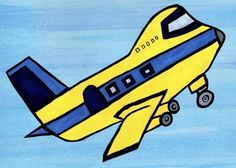 prepare for takeoff with this super cool airplane climbing the blue sky. Bold yellow and blue make for a exciting plane your little one will want to hop on and fly himself! This artwork for kids rooms looks fabulous grouped with other emily green transportation pieces!