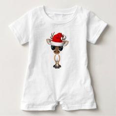 #cute #baby #bodysuits - #Baby Deer Wearing a Santa Hat Baby Romper
