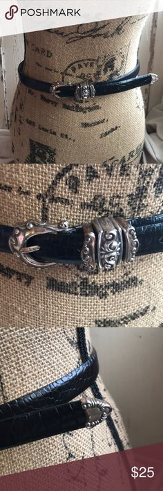 "Vintage leather belt Awesome vintage black genuine leather belt! Silver buckles and animal(crocodile maybe) design. 33.5"" length. Accessories Belts"