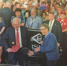 Bill watching Warren Buffett and Bill Gates play ping pong at Borsheim's in Omaha, Nebraska at the Berkshire Hathaway annual shareholders meeting 2015.