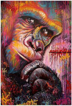 Noe Two art Banksy Graffiti, Graffiti Wall Art, Colorful Animal Paintings, Lilies Drawing, New Retro Wave, Monkey Art, Desenho Tattoo, Arte Pop, Chalk Art