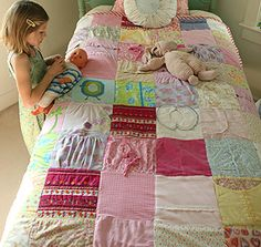 Quilts made from your kids' old clothes...perfect keepsakes.