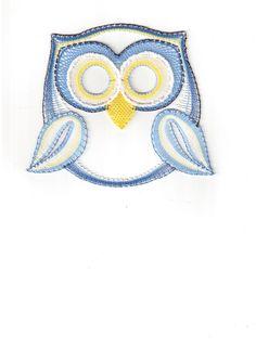 Sovička+modrá, - paličkovaná krajka, bobbin lace, autor: Lenka Maslova Spetlova, Hostinné, Atelier ROS ZEFYRA s.r.o.