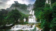 Lo Su Thailand Waterfall Tree Lo Su Thailand Cascade WallpapersByte com 1366x768