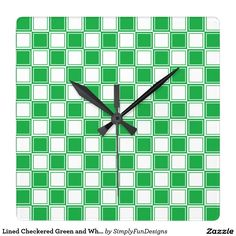 Lined Checkered Green and White Square Wall Clock