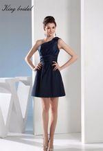 2017 Elegant Eine Schulter Navy Taft Rechteck A Line Short Brautkleider Falten Sleeveless Mini Homecoming Cocktail Kleid //Price: $US $86.19 & FREE Shipping //     #abendkleider