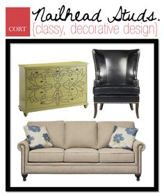 Nailhead studs were historically used to disguise places where upholstery was tacked to furniture, but this elegant and edgy style can be found on any kind of furniture these days. #interiordesign #furniture | To see these nailhead-studded pieces from CORT, go to go.cort.com/2u6