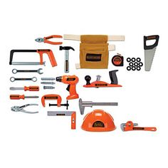 The BLACK+DECKER Deluxe Tool Set includes a huge variety of popular tools for kids to enjoy. There are different wrenches, saws, screwdrivers, and other tools to engage kids in a realistic construction role-play experience. Gifts For Boys, Toys For Boys, Kids Toys, Baby Toys, Kids Workbench, Plan Toys, Construction Tools, Pretend Play, Building Toys