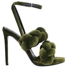 Marco De Vincenzo Woven velvet sandals (€780) ❤ liked on Polyvore featuring shoes, sandals, heels, schuhe, green, high heel shoes, green heeled shoes, high heel sandals, green heeled sandals and leather sole sandals