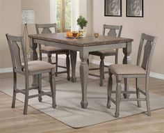Riverbend Wheat Antique Grey Wood Fabric Counter Height / Bar Set