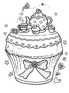 Adult Coloring pages Cupcake Adult Coloring Pages, Cupcake Coloring Pages, Free Printable Coloring Pages, Colouring Pages, Coloring For Kids, Coloring Sheets, Coloring Books, Food Coloring, Arte Country