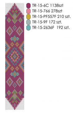 Wzór na bransoletkę na krośnie Energy Pink Loom Bracelet Patterns, Peyote Stitch Patterns, Seed Bead Patterns, Loom Bracelets, Beading Patterns, Brick Stitch Earrings, Indian Rugs, Tear, Beading Projects
