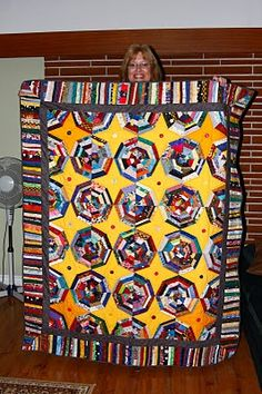Yellow for the background of the Spiderweb quilt!  Looks great!
