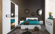 A retro style with elliptical black glass design handle. Oak Bedroom Furniture, Furniture Decor, Bedroom Decor, Queen Platform Bed, Black Mirror, Storage Drawers, Glass Design, Toddler Bed, Modern Houses
