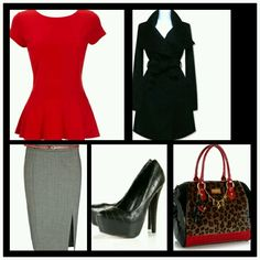 Business attire Love red with the cheetah pattern