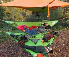 Enjoy the great outdoors with friends without having to sleep on the ground like some kind of neanderthal by using the multi-level hammock. Once anchored to the surrounding trees, this sturdy hammock provides a multi-tiered rest spot you and your group can enjoy.