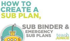 Teach Junkie: How To Create a Sub Plan, Sub Binder and Emergency Sub Plans