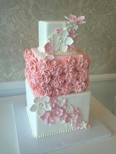 Pink and white wedding cake, square, flowers