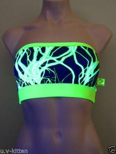 Schminke Bandeau Boobtube BRA TOP Boob Tube Lightning Neon Lycra Rave Clothing   eBay