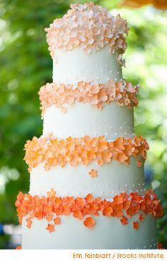ribbon around each layer or under each band of flowers Brides Magazine: Summer Wedding Colors: Pink, Peach, Yellow : Wedding Cakes Gallery Fancy Cakes, Cute Cakes, Pretty Cakes, Summer Wedding Colors, Orange Wedding, Summer Weddings, Spring Wedding, Pink Summer, Summer 2015